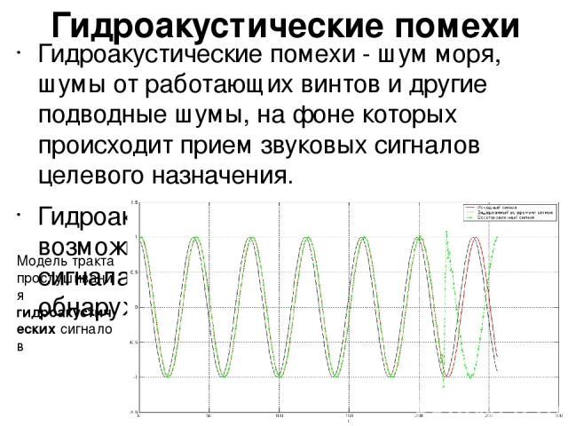Гидроакустические помехи Гидроакустические помехи - шум моря, шумы от работающих винтов и другие подводные шумы, на фоне которых происходит прием звуковых сигналов целевого назначения. Гидроакустические помехи снижают возможность распознавания полез…