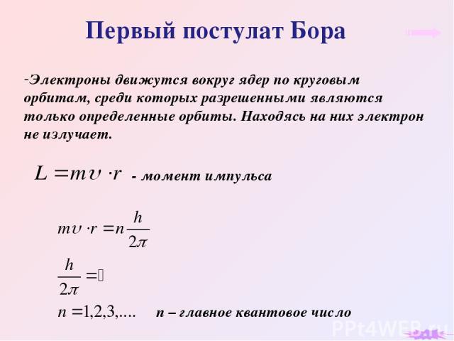 Первый постулат Бора Электроны движутся вокруг ядер по круговым орбитам, среди которых разрешенными являются только определенные орбиты. Находясь на них электрон не излучает. n – главное квантовое число