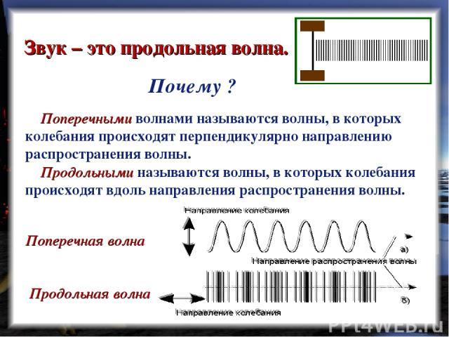 Звук – это продольная волна. Поперечными волнами называются волны, в которых колебания происходят перпендикулярно направлению распространения волны. Продольными называются волны, в которых колебания происходят вдоль направления распространения волны…