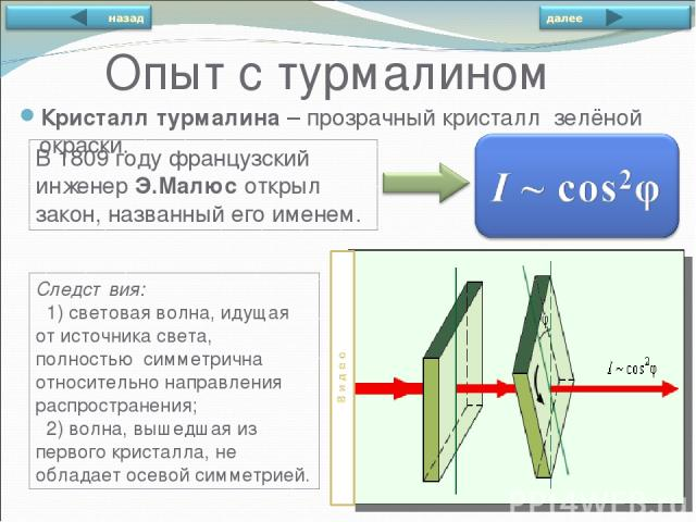Опыт с турмалином Кристалл турмалина – прозрачный кристалл зелёной окраски. В 1809году французский инженер Э.Малюс открыл закон, названный его именем. Следствия: 1) световая волна, идущая от источника света, полностью симметрична относительно напра…