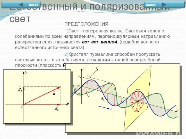Естественный и поляризованный свет ПРЕДПОЛОЖЕНИЯ: Свет - поперечная волна. Световая волна с колебаниями по всем направлениям, перпендикулярным направлению распространения, называется естественной. (подобно волне от естественного источника света). Кр…