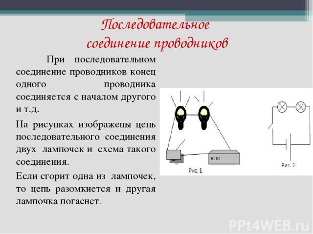 Последовательное соединение проводников При последовательном соединение проводников конец одного проводника соединяется с началом другого и т.д. На рисунках изображены цепь последовательного соединения двух лампочек и схема такого соединения. Если с…