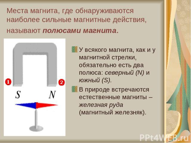 Места магнита, где обнаруживаются наиболее сильные магнитные действия, называют полюсами магнита. У всякого магнита, как и у магнитной стрелки, обязательно есть два полюса: северный (N) и южный (S). В природе встречаются естественные магниты – желез…
