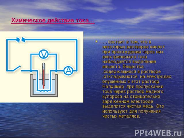 Химическое действие тока… … состоит в том, что в некоторых растворах кислот при прохождении через них электрического тока наблюдается выделение веществ. Вещества ,содержащиеся в растворе ,откладываются на электродах, опущенных в этот раствор. Наприм…