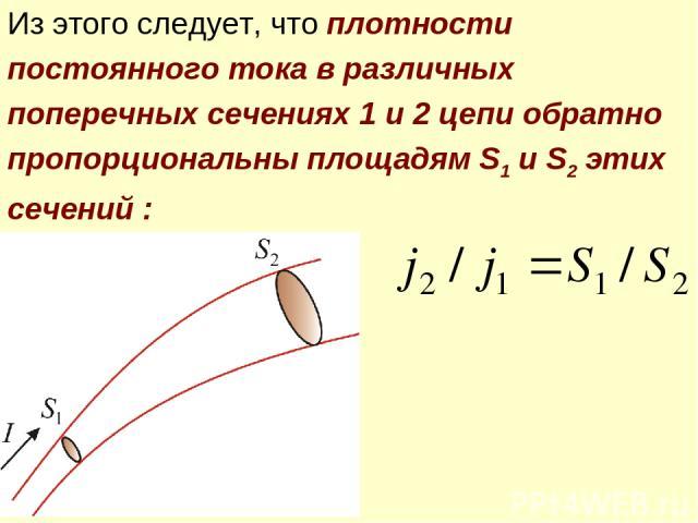 Из этого следует, что плотности постоянного тока в различных поперечных сечениях 1 и 2 цепи обратно пропорциональны площадям S1 и S2 этих сечений :