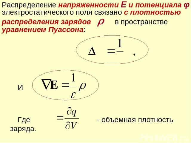 И Где - объемная плотность заряда. Распределение напряженности Е и потенциала φ электростатического поля связано с плотностью распределения зарядов в пространстве уравнением Пуассона: