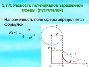 3.7.4. Разность потенциалов заряженной сферы (пустотелой) Напряженность поля сфе