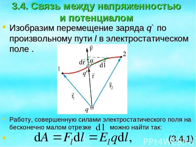 3.4. Связь между напряженностью и потенциалом Изобразим перемещение заряда q` по произвольному пути l в электростатическом поле . Работу, совершенную силами электростатического поля на бесконечно малом отрезке можно найти так: (3.4.1) *