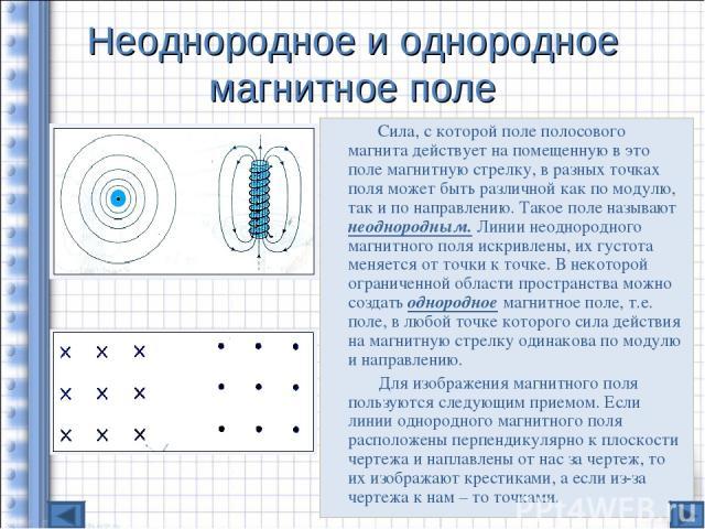 Неоднородное и однородное магнитное поле Сила, с которой поле полосового магнита действует на помещенную в это поле магнитную стрелку, в разных точках поля может быть различной как по модулю, так и по направлению. Такое поле называют неоднородным. Л…