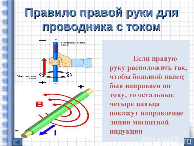 Правило правой руки для проводника с током Если правую руку расположить так, чтобы большой палец был направлен по току, то остальные четыре пальца покажут направление линии магнитной индукции