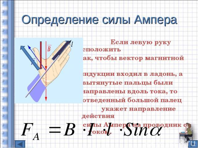 Определение силы Ампера Если левую руку расположить так, чтобы вектор магнитной индукции входил в ладонь, а вытянутые пальцы были направлены вдоль тока, то отведенный большой палец укажет направление действия силы Ампера на проводник с током.