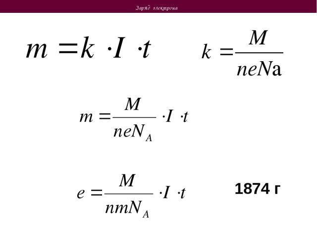 Заряд электрона 1874 г