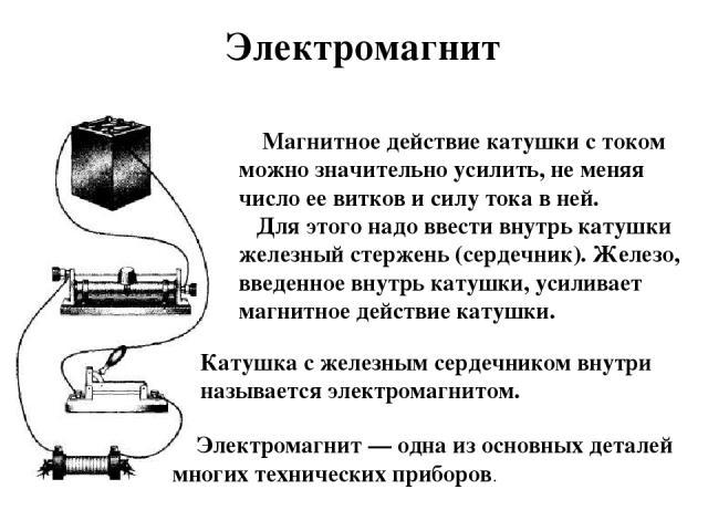 Магнитное действие катушки с током можно значительно усилить, не меняя число ее витков и силу тока в ней. Для этого надо ввести внутрь катушки железный стержень (сердечник). Железо, введенное внутрь катушки, усиливает магнитное действие катушки. Кат…