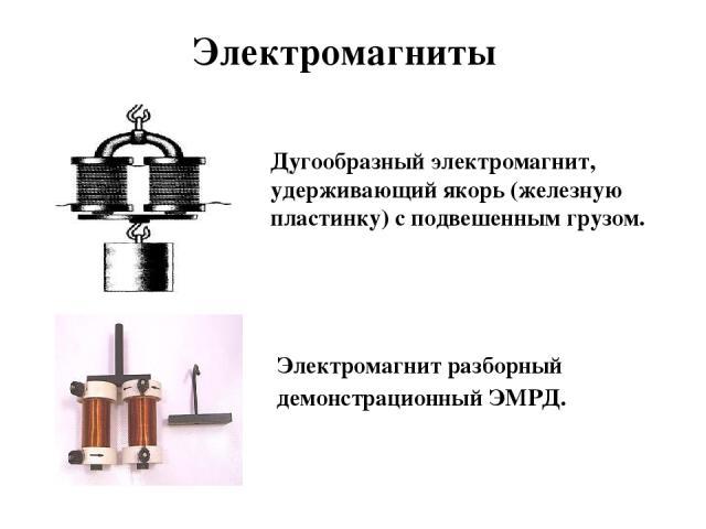 Дугообразный электромагнит, удерживающий якорь (железную пластинку) с подвешенным грузом. Электромагниты Электромагнит разборный демонстрационный ЭМРД.