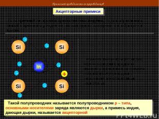 Примесная проводимость полупроводников Акцепторные примеси Если кремний легирова
