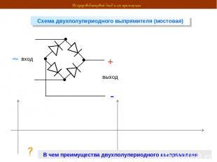 Полупроводниковый диод и его применение Схема двухполупериодного выпрямителя (мо