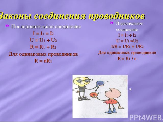 Законы соединения проводников Последовательное соединение I = I1 = I2 U = U1 + U2 R = R1 + R2 Для одинаковых проводников R = nR1 Параллельное соединение I = I1 + I2 U = U1 =U2 1/R = 1/R1 + 1/R2 Для одинаковых проводников R = R1 / n п