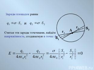 Заряды площадок равны A r1 r2 S1 S2 и Считая эти заряды точечными, найдём напряж