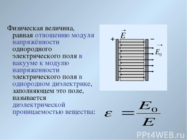 Физическая величина, равная отношению модуля напряжённости однородного электрического поля в вакууме к модулю напряженности электрического поля в однородном диэлектрике, заполняющем это поле, называется диэлектрической проницаемостью вещества: Е