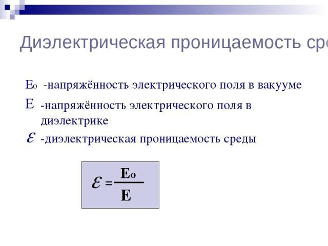 Диэлектрическая проницаемость среды Е Ео -напряжённость электрического поля в вакууме -напряжённость электрического поля в диэлектрике -диэлектрическая проницаемость среды = Ео Е