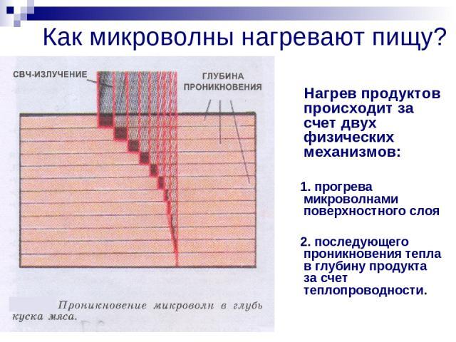 Как микроволны нагревают пищу? Нагрев продуктов происходит за счет двух физических механизмов: 1. прогрева микроволнами поверхностного слоя 2. последующего проникновения тепла в глубину продукта за счет теплопроводности.