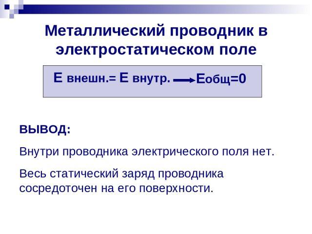 Металлический проводник в электростатическом поле Е внешн.= Е внутр. Еобщ=0 ВЫВОД: Внутри проводника электрического поля нет. Весь статический заряд проводника сосредоточен на его поверхности.