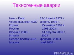 Нью – Йорк 13-14 июля 1977 г. Чернобыльская АЭС апрель 1986 г. Грузия 15 ноября