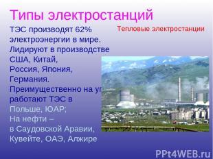 Типы электростанций ТЭС производят 62% электроэнергии в мире. Лидируют в произво