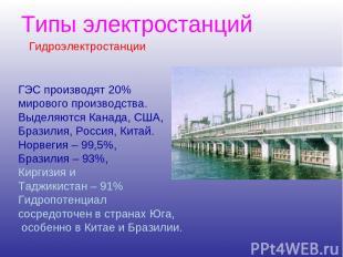 Типы электростанций ГЭС производят 20% мирового производства. Выделяются Канада,