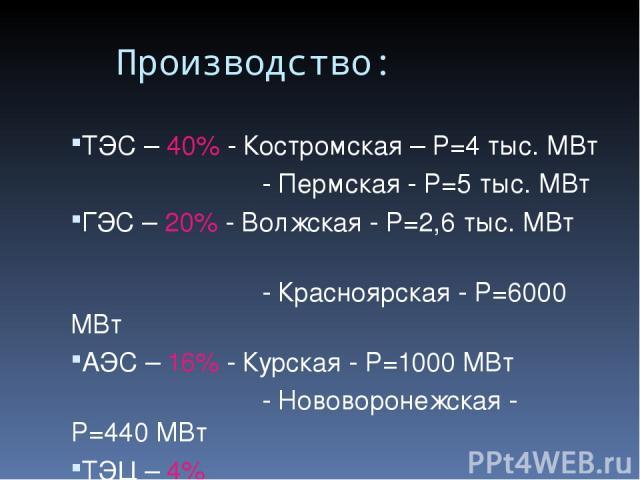Производство: ТЭС – 40% - Костромская – P=4 тыс. МВт - Пермская - P=5 тыс. МВт ГЭС – 20% - Волжская - P=2,6 тыс. МВт - Красноярская - P=6000 МВт АЭС – 16% - Курская - P=1000 МВт - Нововоронежская - P=440 МВт ТЭЦ – 4%