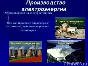 Производство электроэнергии Тепловая электростанция Атомная электростанция Осуще