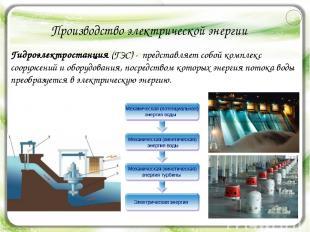 Производство электрической энергии Гидроэлектростанция (ГЭС) - представляет собо