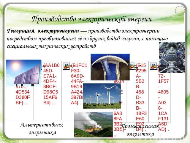 Производство электрической энергии Генерация электроэнергии— производство электроэнергии посредством преобразования её из других видов энергии, с помощью специальных технических устройств Альтернативная энергетика Промышленная энергетика 1