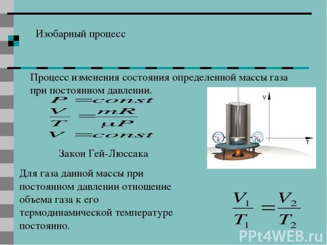 Изобарный процесс Процесс изменения состояния определенной массы газа при постоянном давлении. Закон Гей-Люссака Для газа данной массы при постоянном давлении отношение объема газа к его термодинамической температуре постоянно.