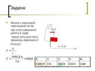 ©Л.А.Мирская, школа №39, г.Саранск * Задача: Мешок с картошкой перетащили на 2м