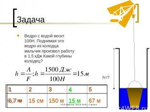 ©Л.А.Мирская, школа №39, г.Саранск * Задача Ведро с водой весит 100Н. Поднимая э