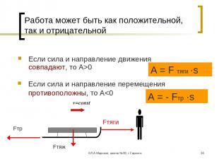 ©Л.А.Мирская, школа №39, г.Саранск * Работа может быть как положительной, так и