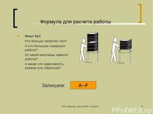 ©Л.А.Мирская, школа №39, г.Саранск * Формула для расчета работы Опыт №1 Кто боль