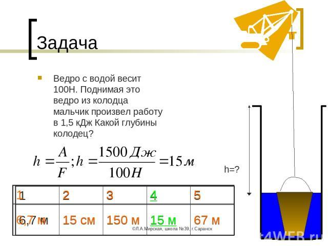 ©Л.А.Мирская, школа №39, г.Саранск * Задача Ведро с водой весит 100Н. Поднимая это ведро из колодца мальчик произвел работу в 1,5 кДж Какой глубины колодец? h=? 1 2 3 4 5 6,7 м 15 см 150 м 15 м 67 м 1 2 3 4 5 6,7 м 15 см 150 м 15 м 67 м ©Л.А.Мирская…