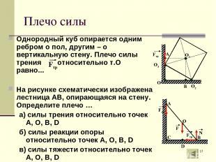 * Плечо силы Однородный куб опирается одним ребром о пол, другим – о вертикальну