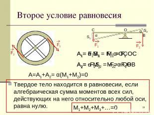 * Второе условие равновесия Твердое тело находится в равновесии, если алгебраиче