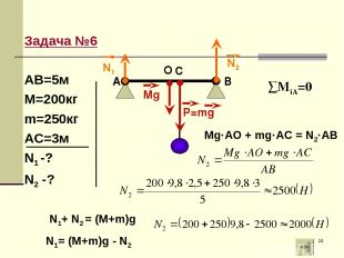 * Задача №6 АВ=5м М=200кг m=250кг АС=3м N1 -? N2 -? ∑МiA=0 O Mg·AO + mg·AC = N2·