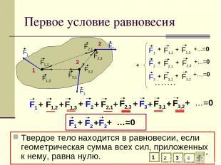 * Первое условие равновесия Твердое тело находится в равновесии, если геометриче
