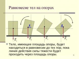 * Равновесие тел на опорах Тело, имеющее площадь опоры, будет находиться в равно