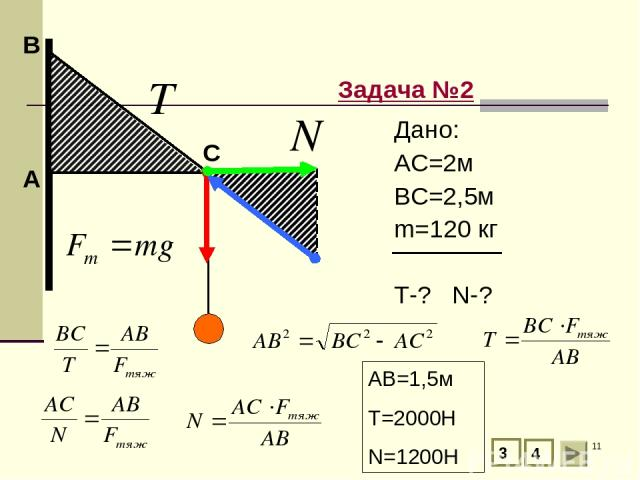 * А В Задача №2 С 3 4 Дано: АС=2м ВС=2,5м m=120 кг T-? N-? АВ=1,5м T=2000H N=1200H