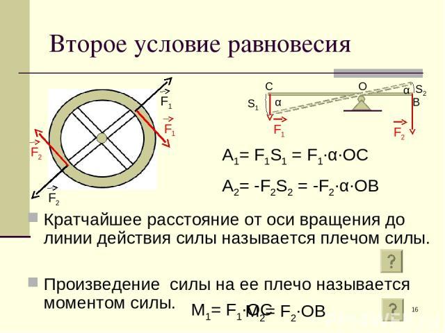 * Второе условие равновесия Кратчайшее расстояние от оси вращения до линии действия силы называется плечом силы. Произведение силы на ее плечо называется моментом силы. α α S1 S2 О С В A1= F1S1 = F1∙α∙OC A2= -F2S2 = -F2∙α∙OB M1= F1∙OC M2= F2∙OB