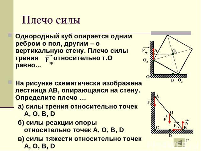 * Плечо силы Однородный куб опирается одним ребром о пол, другим – о вертикальную стену. Плечо силы трения относительно т.О равно... На рисунке схематически изображена лестница АВ, опирающаяся на стену. Определите плечо … а) силы трения относительно…
