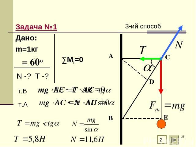 * Задача №1 Дано: m=1кг α= 60о 2 А В С т.В т.А D E 3-ий способ ∑Мi=0 N -? T -?