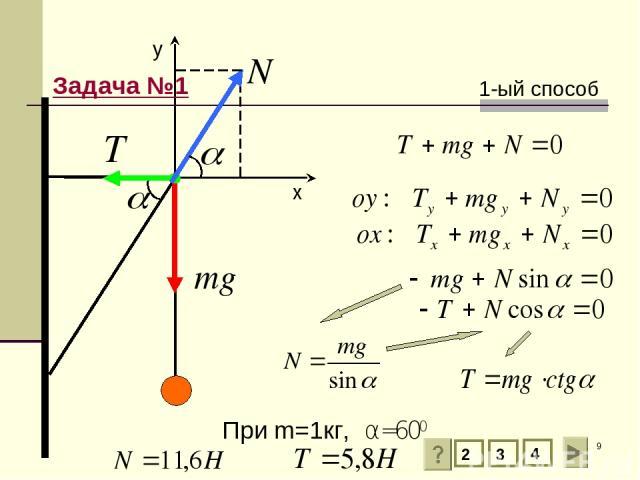 * 2 3 4 y х 1-ый способ При m=1кг, α=600 Задача №1