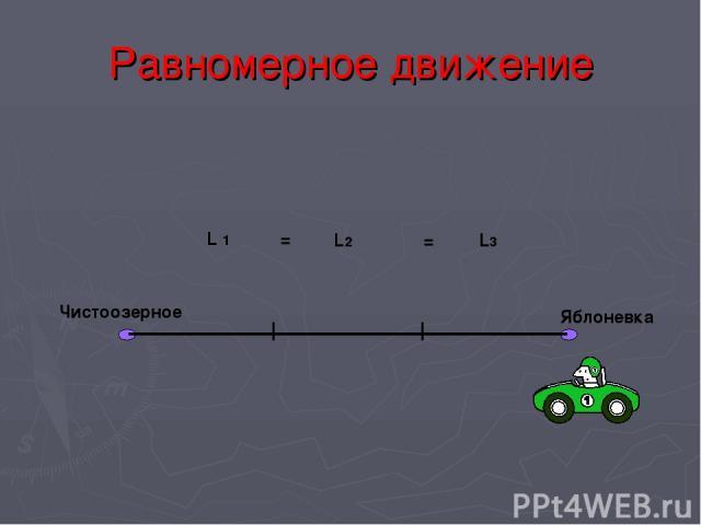 Равномерное движение Чистоозерное Яблоневка L 1 L2 L3 = =
